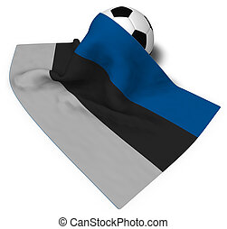 soccer ball and flag of estonia - 3d rendering