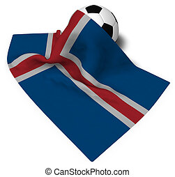soccer ball and flag of iceland - 3d rendering
