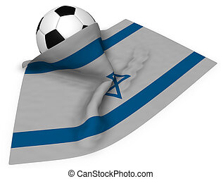 soccer ball and flag of israel - 3d rendering