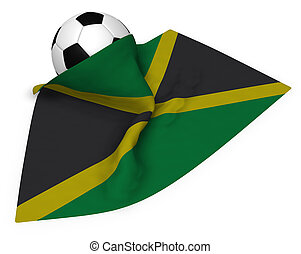 soccer ball and flag of jamaica - 3d rendering