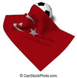 soccer ball and flag of turkey - 3d rendering
