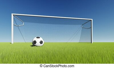Soccer ball and gate on green grass