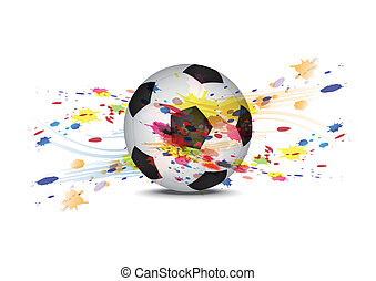soccer ball and ink splatter background design
