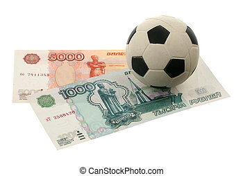 Soccer ball and russian money