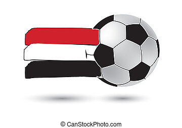 Soccer ball and Yemen Flag with colored hand drawn lines