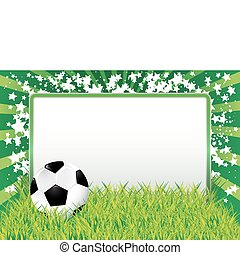 green background with soccer ball and blank banner, vector illustration