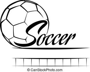 Soccer Ball Banner - Stylized soccer ball with the word...