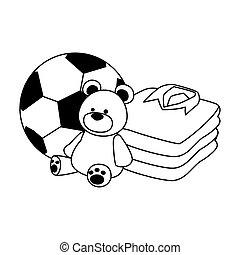 soccer ball, bear and shirts stack