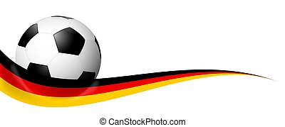 soccer ball behind german banner