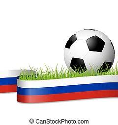 soccer ball behind russian banner