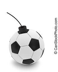 Soccer ball bomb on white