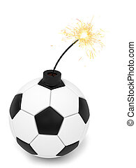 Soccer ball bomb with burning wick on white