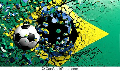 Soccer ball breaking though wall with Brazilian flag