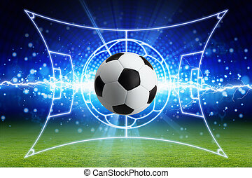 Soccer ball, bright blue lightning, green football field with layout