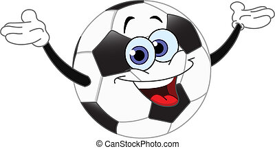 Soccer ball - Cartoon soccer ball raising his hands