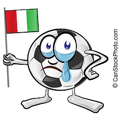 soccer ball cartoon with italian flag