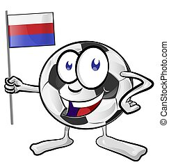 soccer ball cartoon with russian flag