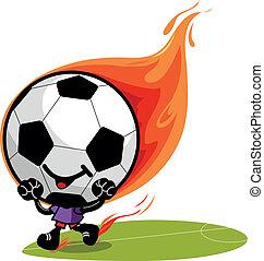 Soccer ball character on fire. Vector illustration