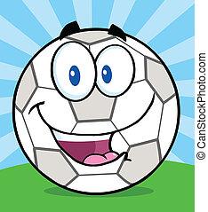 Soccer Ball Character On Grass