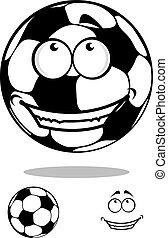 Soccer ball character with happy smile