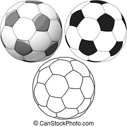 Soccer Ball Color Flat And Ink Pack - Vector illustration...