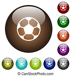 Soccer ball color glass buttons