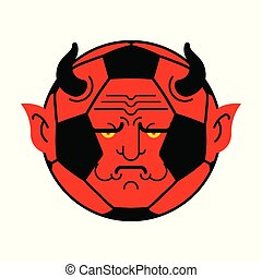 Soccer ball demon. ball Red devil. Vector illustration