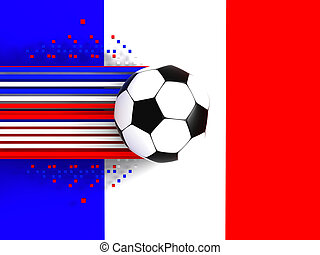 soccer ball on background of the flag france