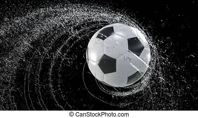 Soccer ball emitting whirl of water drops, with rgb mask, 3d...