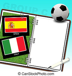 Soccer ball euro with flag spain and italy - euro 2012 group...