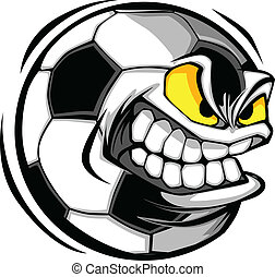 Soccer Ball Face Cartoon Vector - Vector Cartoon Soccer Ball...