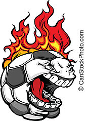 Soccer Ball Face with Flaming Hair Vector Image