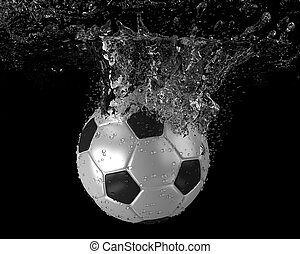 Soccer ball falling into water