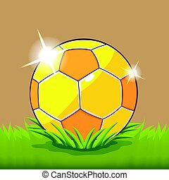 Soccer Ball Field Grass Cartoon Vector - Soccer Gold Ball...