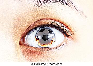 soccer ball fire in the eye