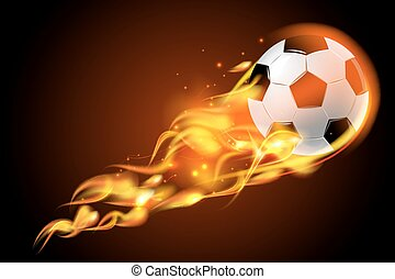 Soccer ball fire on black background - Realistic color...