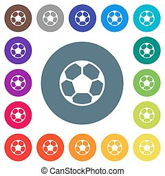 Soccer ball flat white icons on round color backgrounds. 17 background color variations are included.