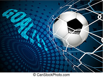 soccer ball flew into the empty net. goal