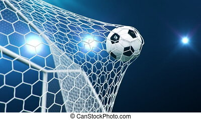 Soccer ball flies beautifully into the goal in slow motion. ...