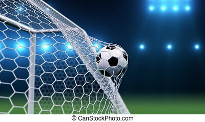 Soccer ball flies beautifully into the goal in slow motion. Soccer ball flies into the goal bending the grid on flares background, ball rotating in slow motion. Moment delight football 3d 4k animation