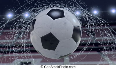 Soccer ball flies emitting whirl of water drops, 3d...
