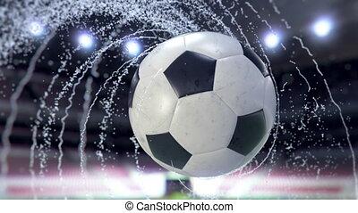 Soccer ball flies emitting whirl of water drops, 3d...