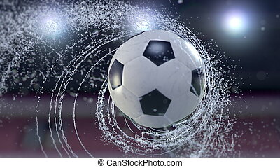 Soccer ball flies emitting whirl of water drops, 3d illustration.
