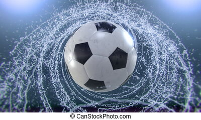 Soccer ball flies emitting whirl of water drops, 4k 3d...