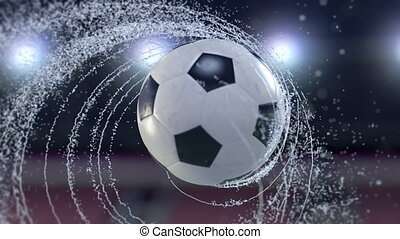 Soccer ball flies emitting whirl of water drops, 4k 3d animation.