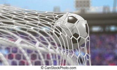 Soccer Ball Flies into the Goal