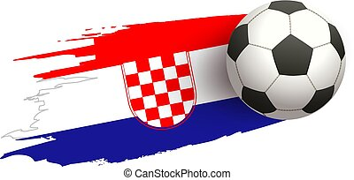 Soccer ball fly on background of Croatian flag