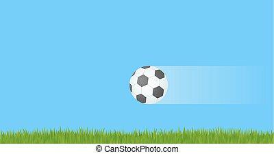Soccer ball flying in air.