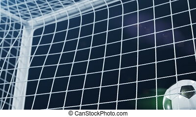 Soccer Ball flying in Goal Net and spinning in the Net in Slow Motion. Black Background and Flares. Sport Concept. Beautiful Football 3d animation of the Goal Moment.