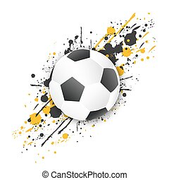 Soccer ball (football ball) with grunge effect. Vector. -...